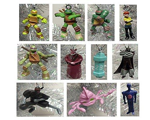 "Teenage Mutant Ninja Turtles 12 Piece Holiday Christmas Tree MINI 1"" to 2"" Ornament SetFeaturing Sensei Splinter, Donatello, Leonardo, Raphael, Michelangelo, April, Shredder, Kraang - These MINI Shatterproof Plastic Ornaments are Perfect for a Kids Tree or Small Office Desk Tree"