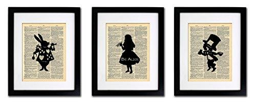Alice in Wonderland Tea Party - 3 Print Set - Vintage Dictionary Print 8x10 Home Vintage Art Abstract Prints Wall Art for Home Decor Wall Decorations For Living Room Bedroom Office Ready-to-Frame 3