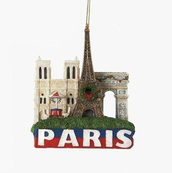 Paris Landmarks Christmas Ornament with Eiffel Tower, Arc de Triomphe and Notre Dame