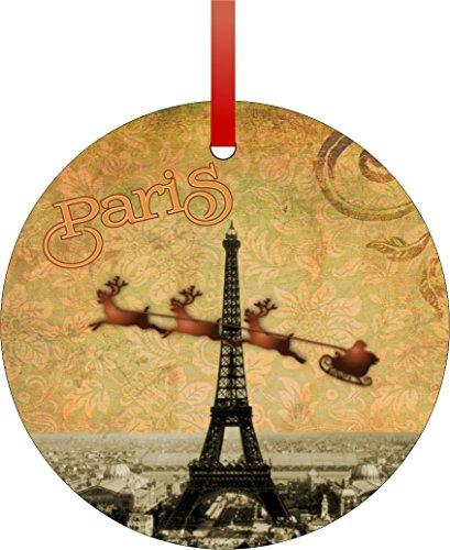 Vintage Santa and Sleigh Riding Over Big Eiffel Tower-Paris-TM Flat Round-Shaped Aluminum Christmas Ornament with a Red Satin Ribbon/Holiday Hanging Tree Ornament/Double-Sided Decoration/Great Unisex Holiday Gift!-Made in the USA!