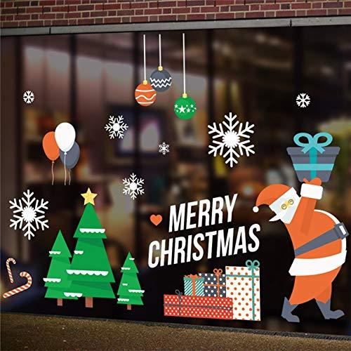 Gold Happy Merry Christmas Tree Balloon Snowflakes Wall Stickers for Store Office Home Decoration Xmas Festival Window Decal