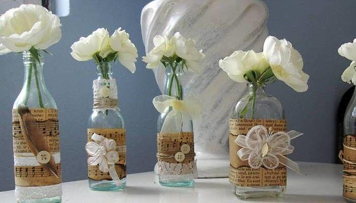 Decorar botellas para bodas