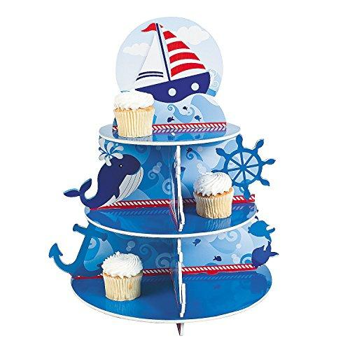"1 X Nautical Sailor Cupcake Holder Stand Size: 16"" x 12"" diam. by Fun Express blue and white"