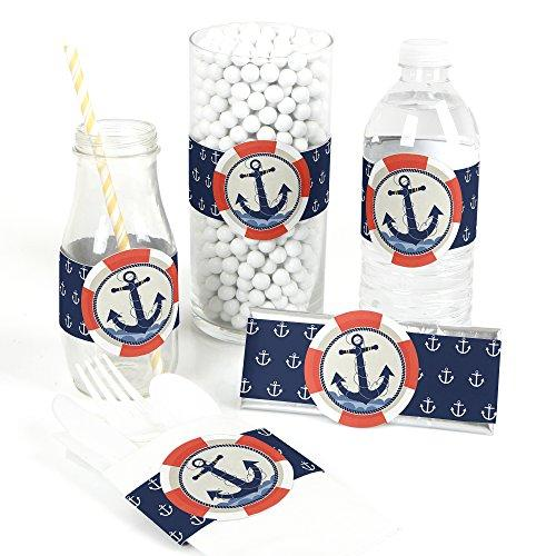 Ahoy - Nautical - DIY Party Supplies - Baby Shower Birthday Party DIY Wrapper Favors & Decorations - Set of 15