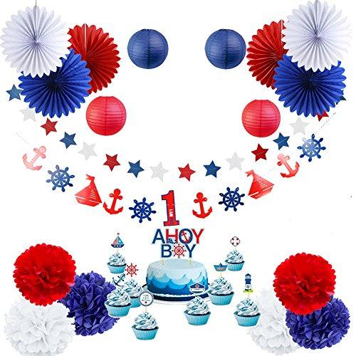 Nautical Party Baby Shower Decoration Kit AHOY BOY 1st Birthday Party Supplies 19 Pieces SUNBEAUTY Red White Blue Color