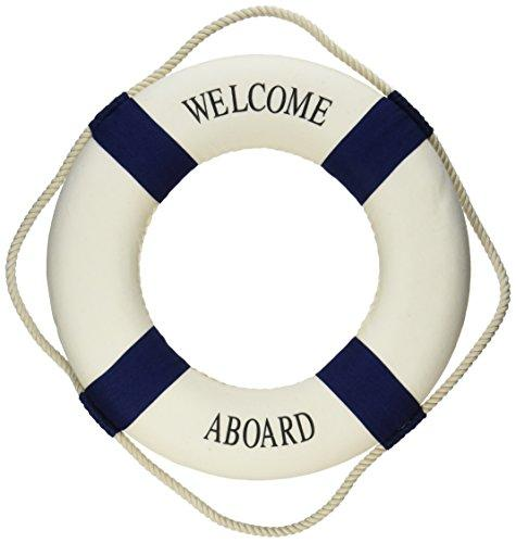 "Oliasports Welcome Aboard Cloth Life Ring Navy Accent Nautical Decor 13.5"" New - Decoration Only"