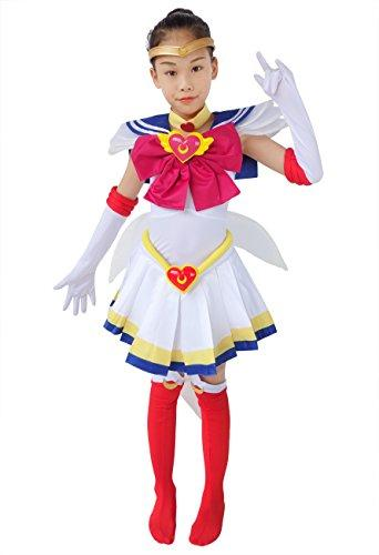 DAZCOS Kids Size Girls SuperS Usagi Tsukino Fighting Cosplay Costume Sailor Dress (Child M)