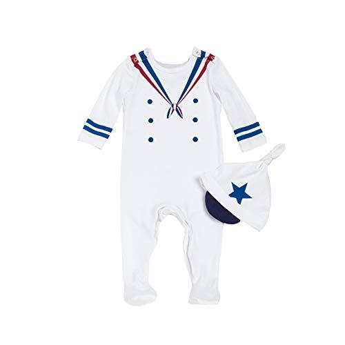 ALLAIBB Newborn Baby Boy Costume Footie Naval Sailor Uniforms Cosplay Outfit with Cap Size 66 (White)