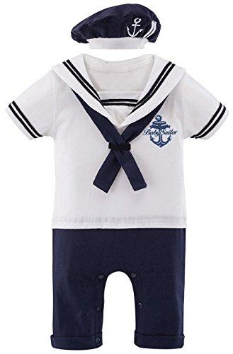 Mombebe Baby Boys 2 Pieces Sailor Romper Outfit (12-18Months, White)