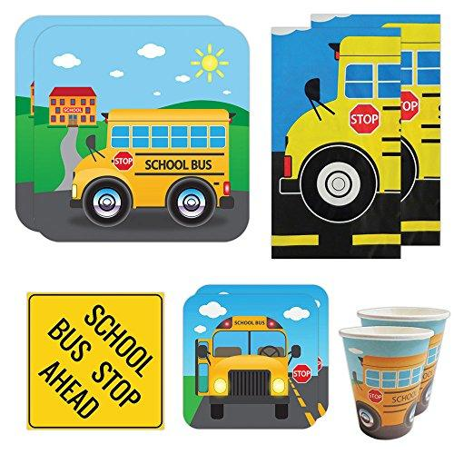 School Bus Deluxe Party Packs (70 Pieces for 16 Guests!), Kindergarten Party Supplies, School Bus Birthdays