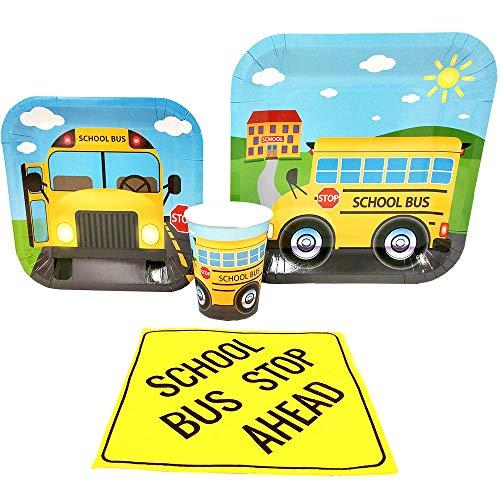 School Bus Standard Party Packs (65+ Pieces for 16 Guests!), School Bus Party Supplies, Kindergarten, Birthdays