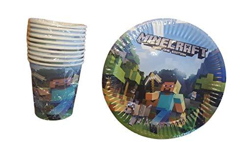 10 Plates & 10 Cups Birthday Party Set - Minecraft Inspired Birthday Party Supplies