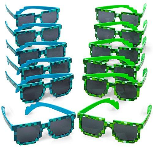 Katzco Pixel Sunglasses, Birthday Party Favors for Kids and Adults, 12 Piece