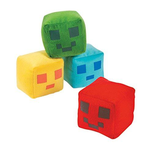 "Fun Express Large Plush Pixel Pals Stuffed Square Balls (12 Pack) Yellow, Blue, Green, Red 4"" x 4"""
