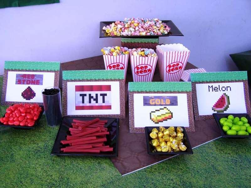 candy bar cake cotillon minecraft