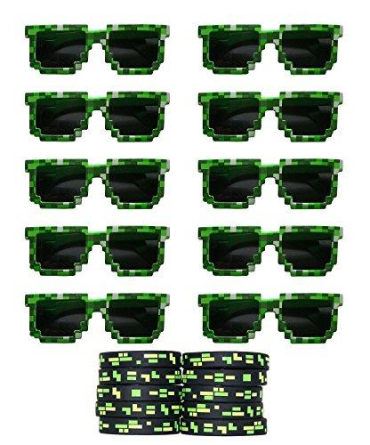 8-Bit Pixelated Sunglasses Birthday Party Favors (Set of 10 Pairs) with 10 Pixelated Wristbands Included - Party Bag Fillers for Miner Themed Parties