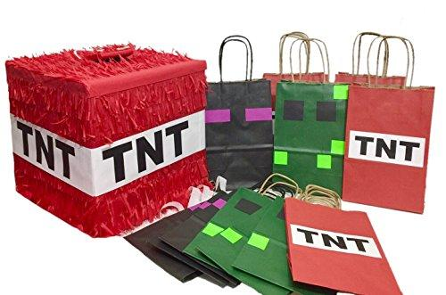 Red TNT Pinata & 12 PK Green Black and Red Party Favor Bags