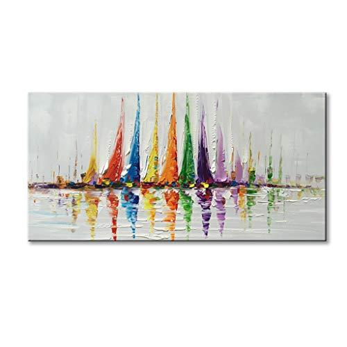"Canvas Wall Art Sailboat Oil Painting Hand Painted Colorful Abstract Boat Impression Artwork Modern Sailing Decorations Framed and Stretched 48""x24"""