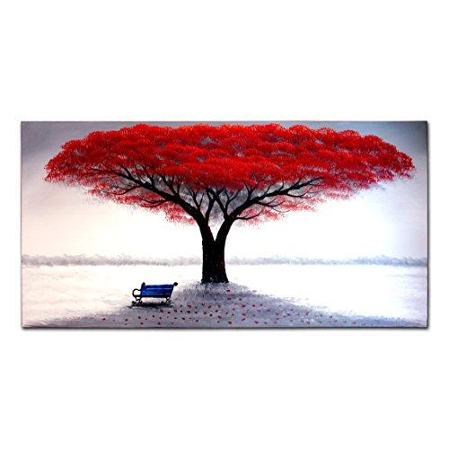 FLY SPRAY 1-Piece 100% Hand Painted Oil Paintings Stretched Framed Ready Hang Flower Landscape Red Tree Flower Modern Abstract Painting Canvas Living Room Bedroom Office Wall Art Home Decoration