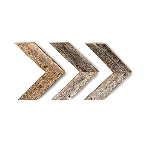 BarnwoodUSA Farmhouse Wood Arrows for Wall - Set of 3 Rustic Chevron Arrows Made from 100% Reclaimed and Recycled Wood | Comes with Mounting Hardware
