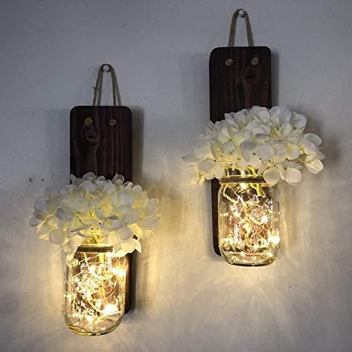Tennessee Wicks Rustic Mason Jar Wall Sconce Set of Two, Complete with Two Hydrangeas and Two LED Fairy Light Strands, Batteries Are Included
