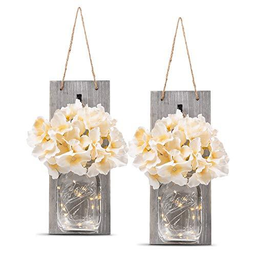 HOMKO Decorative Mason Jar Wall Decor - Rustic Wall Sconces with LED Fairy Lights and Flowers - Farmhouse Home Decor (Set of 2)