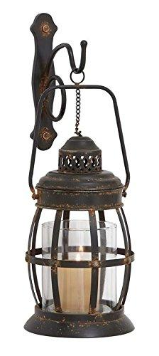 "Deco 79 Large Antique Brown Metal Lantern Wall Sconce with Hurricane Glass, Metal Wall Sconce Candle Holder, Hanging Lantern Wall Decor Lighting | 7"" x 19"""