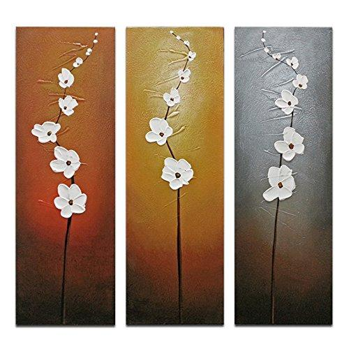 Wieco Art 3 Piece White Flowers Oil Paintings on Canvas Wall Art for Living Room Bedroom Home Decorations Modern Stretched and Framed 100% Hand Painted Contemporary Grace Abstract Floral Artwork