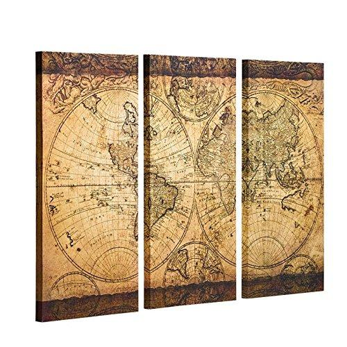 "Decor MI Vintage World Map Canvas Wall Art Prints Stretched Framed Ready to Hang Artwork Wall Decor for Living Room Office Decoration 16x32"" 3pcs"