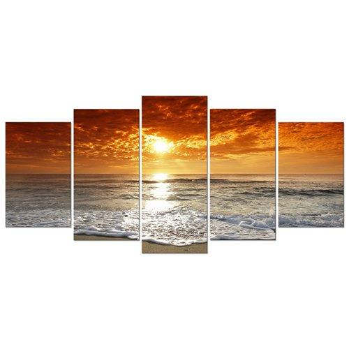 Wieco Art - Grand Sight 5 Panels Modern Landscape Artwork HD Seascape Giclee Canvas Prints Sea Beach Pictures to Photo Paintings on Canvas Wall Art DÃcor for Living Room Bedroom Decorations