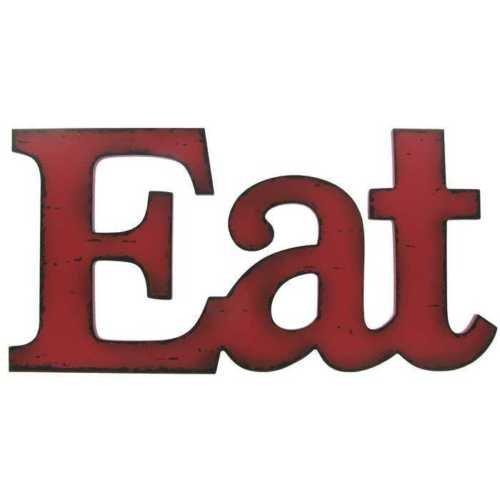 Eat Red Wooden Farmhouse Kitchen Wall Plaque
