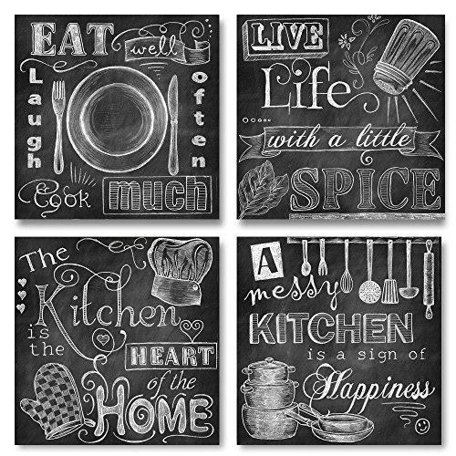 Beautiful, Fun, Chalkboard-Style Kitchen Signs; Messy Kitchen, Heart of the Home, Spice of Life, and Cook Much; Four 12x12in Paper Prints (Printed on paper and made to look like chalkboard)