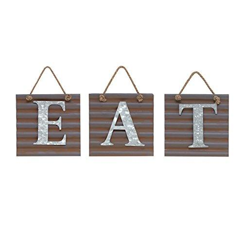 "Barnyard Designs Eat Galvanized Metal Letter Tile Wall Sign, Primitive Country Rustic Kitchen Farmhouse Home Decor Sign 28"" x 10"""