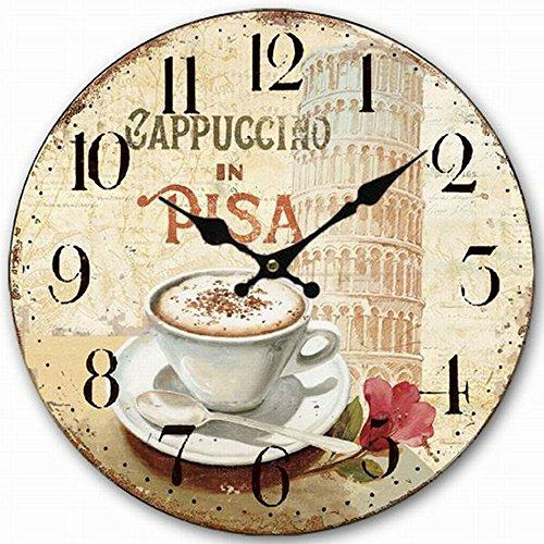 "HQF Italian Style Wall Clock, Eruner 12"" Stylish Office Wall Clock Classy Kitchen Clock Wooden Mottled Effect Living Room Lounge Silent Clock Hallway Timepiece Watch"