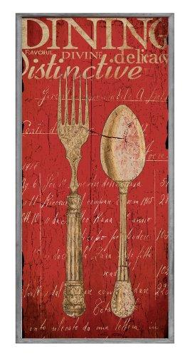 The Stupell Home Decor Collection Decor Collection Vintage Fork Spoon Wall Plaque, Red