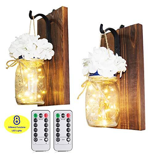 CALATOUR Mason Jar Decor Wall Sconce,16OZ Mason Jars,20 LED Lights with Remote Control,Wrought Iron Hooks,Wood Boards,Silk FlowersSet of 2