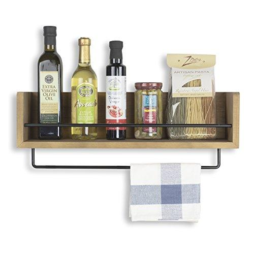 Rustic State Kitchen Wood Wall Shelf with Metal Rail Also Multi Use Can Be Used As a Spice Rack Living Room or Bedroom Wall Shelf , Walnut Stained (20, Walnut)
