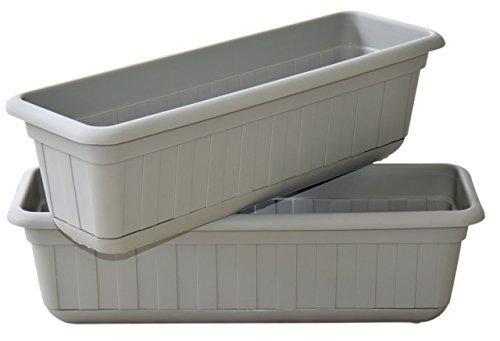 "Premium High-Density Plastic Planter & Flower Window Box Gina 18"" Set of 2 Units (Cement Color)"