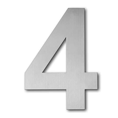 QT Modern House Number - 6 Inch - Brushed Stainless Steel (Number 4 Four), Floating Appearance, Easy to install and made of solid 304
