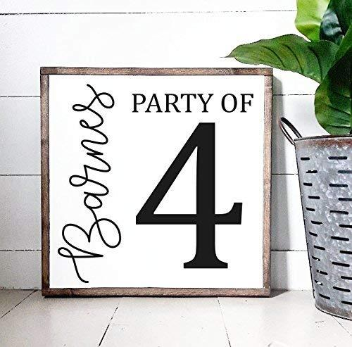 Party of Sign Last Name Number Sign Numerical Personalized Home Decor Rustic Farmhouse Decor Country Living Housewarming Gift Family