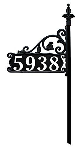 "Address America USA Handcrafted in Our Small Family Shop Boardwalk Reflective 911 Double Sided Black Home Address Sign for Yard - Custom Made Address Plaque - Wrought Iron Look Exclusively (30"")"