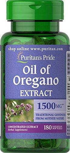 Puritans Pride Oil of Oregano Extract 1500 mg, Oregano Oil Pills with Antioxidant Phytochemicals, 180 Rapid Release Softgels