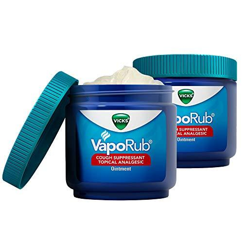 Vicks VapoRub Chest Rub Ointment for Relief from Cough, Cold, Aches, and Pains, with Original Medicated Vicks Vapor, 6 oz (Pack of 2)