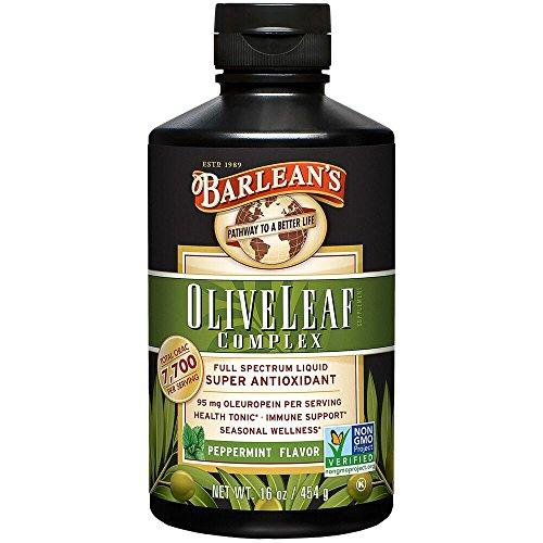 Barleans Organic Oils Olive Leaf Complex Peppermint Flavor, 16-Ounce Bottle