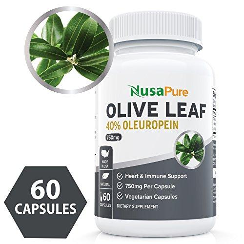 Best Olive Leaf Extract 750 mg 40% Oleuropein (Non-GMO & Gluten Free) - Vegetarian - Super Strength - Immune Support, Cardiovascular Health & Antioxidant Supplement - No Oil - 60 Capsules
