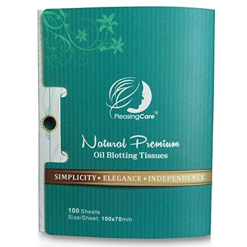 Natural Bamboo Charcoal Oil Absorbing Tissues - 100 Counts, Easy Take Out Design - Top Oil Blotting Paper, Premium Handy Face Blotting Sheets - Facial Skin Care or Make Up Must Have!
