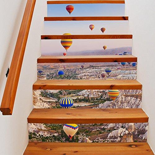 CaseFan 100x18cm 6PCS/set Self-adhesive 3D Hot-air Balloon Staircases Sticker Vinyl Removable Waterproof Stairway Decoration Wall Decal Paper(1 Set)
