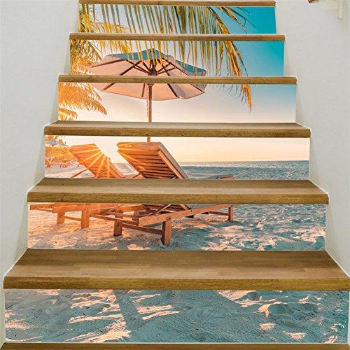 3D Stair Stickers Decals-Self-adhesive Stair Riser Stickers Wallpaper Murals Removable Tile Staircase Stickers Vinyl Stair Decal Waterproof Wall Stickers for Stair 6PCS/Set (Beach Landscape)