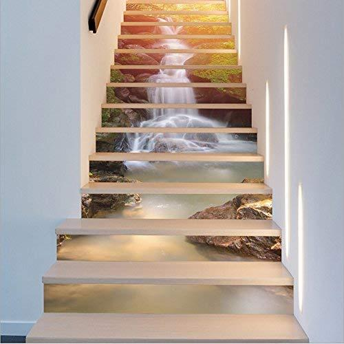 Fuloon Waterfall 3D Stair Sticker DIY Steps Sticker Wall Decal Mural Wallpaper Removable Decals for Home Decor (13Pcs, Waterfall)