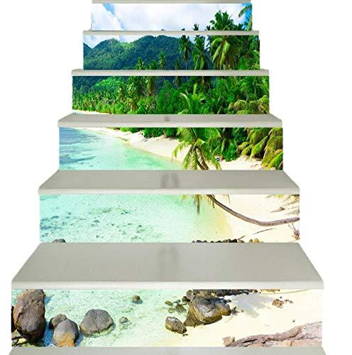 FLFK White Sand Beach Coconut Tree 3D Self-Adhesive Staircase Stickers Decal PVC Waterproof Mural for Rooms Stairway Stickers 6PCS/Set